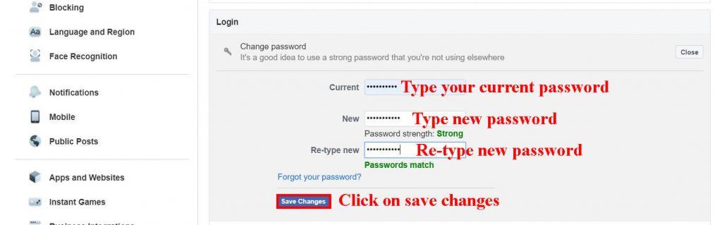 change password (how to change password  on Facebook)