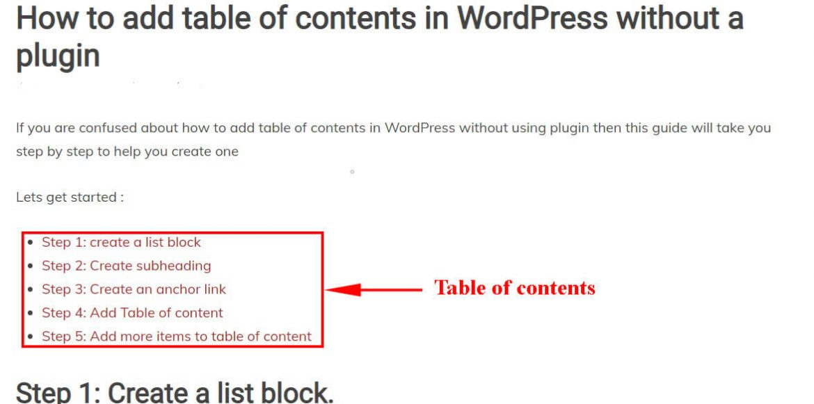 How to add table of contents  in WordPress without a plugin