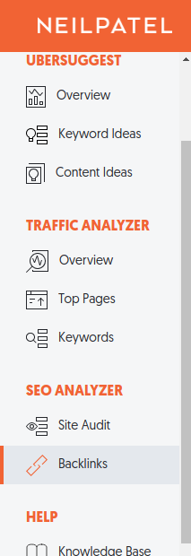 Competitor analysis for website using ubersuggest