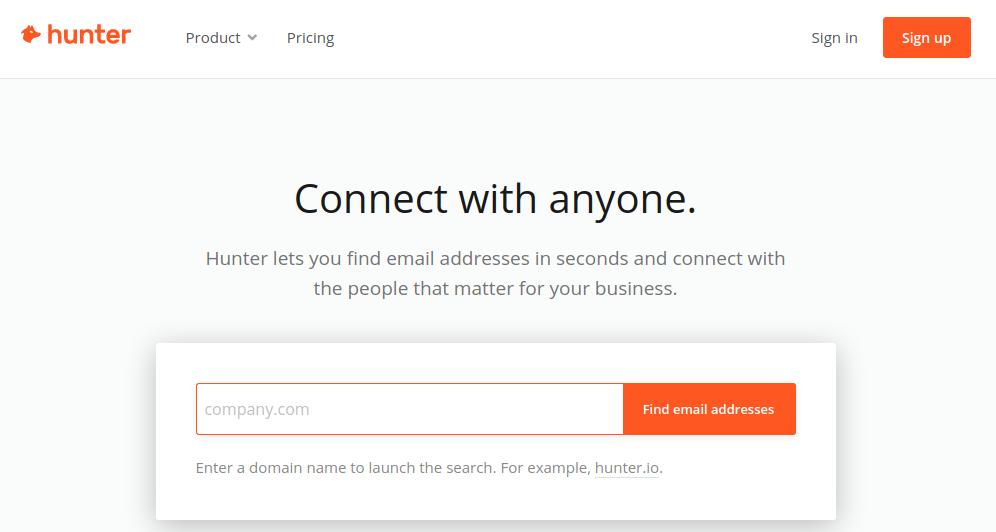email address finder tool hunter
