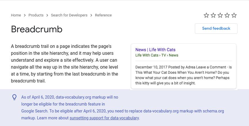 breadcrumbs in website from google