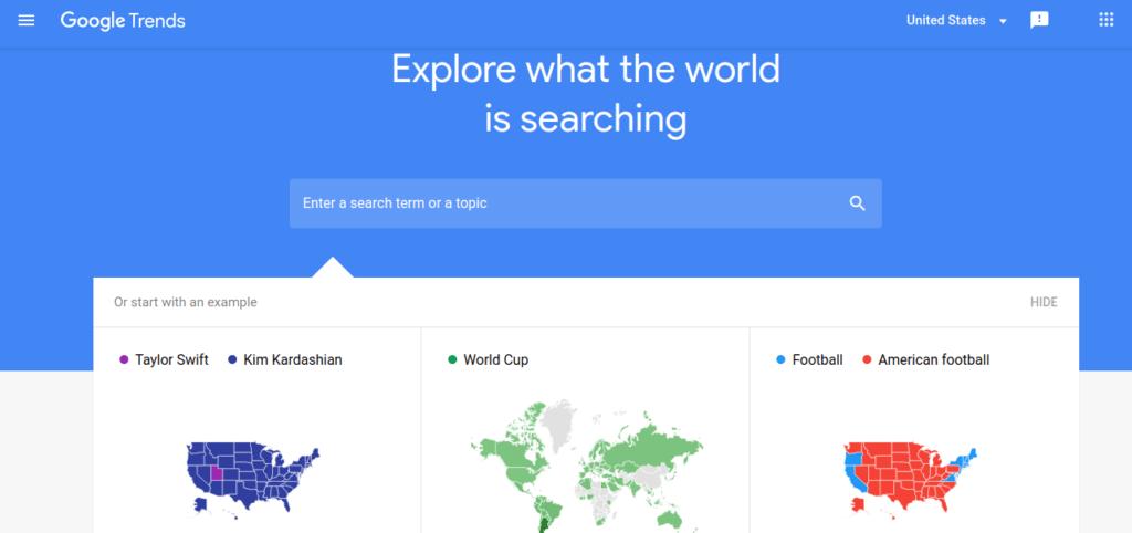 Social media tools google trends
