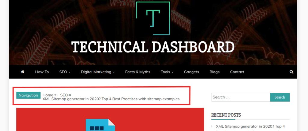 hierarchy based breadcrumbs in website
