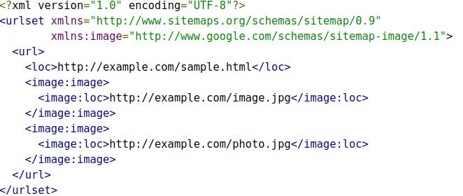 image xml sitemap example