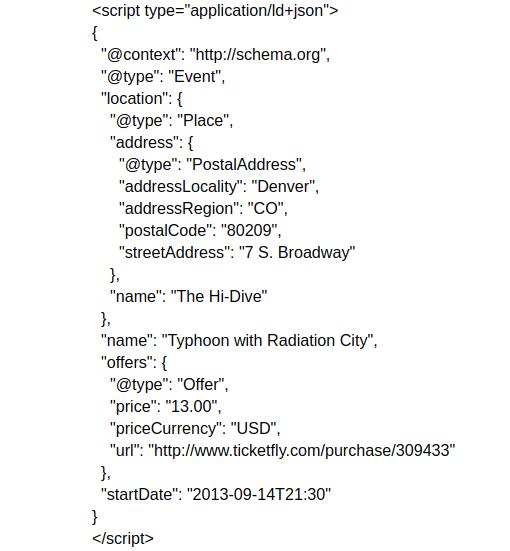 structured data json-ld code