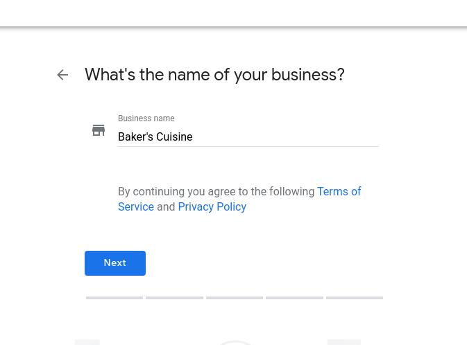google my business setup name