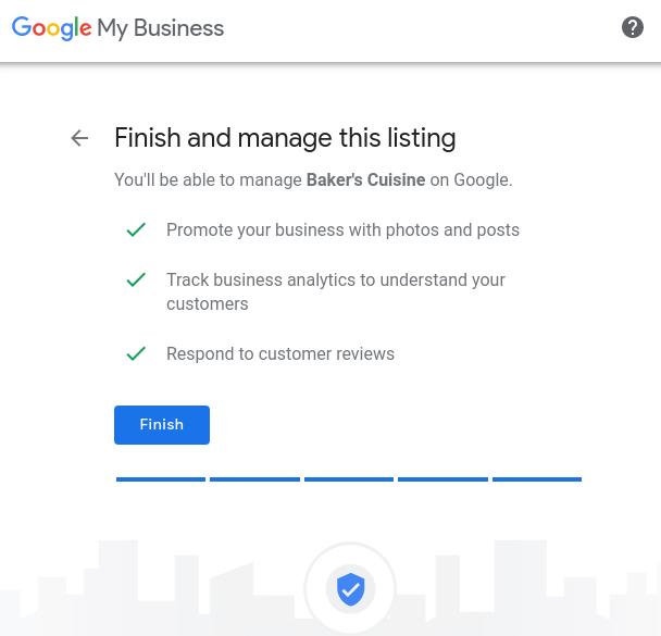 google my business setup finish