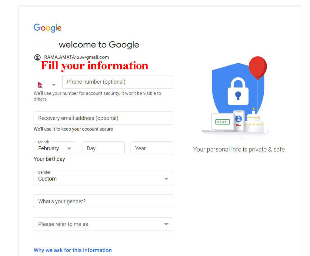 fill your information ( how to create a google account)