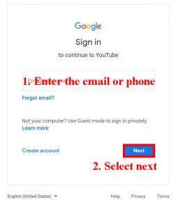 enter sign in details