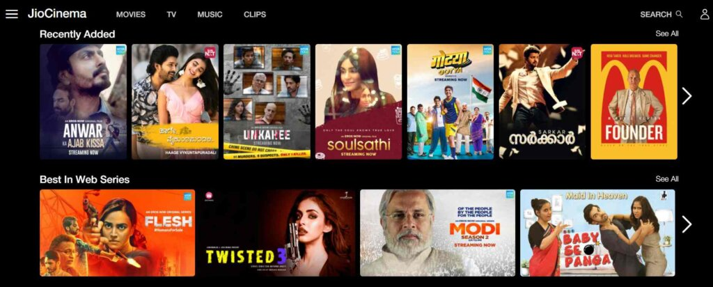 JioCinema_Free Sites To Watch Hindi Movies Online