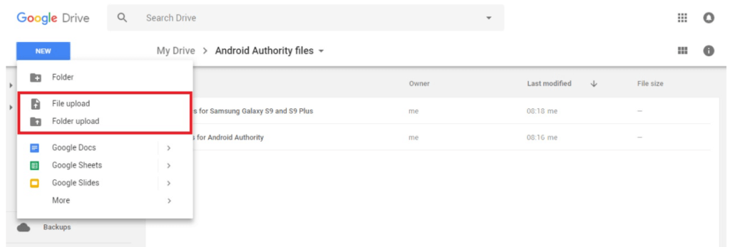 File or folder upload_How to use Google Drive